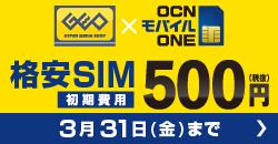 OCN SIMのSIMパッケージが 今なら500円!